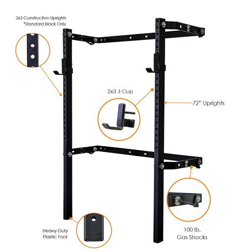2x3 Profile Squat Rack - Black Onyx (no pull-up bar)