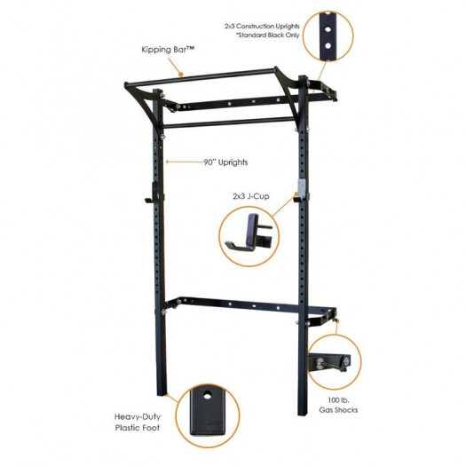 2x3 Profile Rack with Kipping Bar - 90 in uprights - Black Onyx