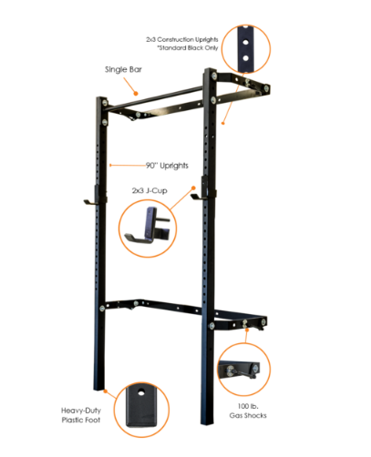 2x3 Profile Rack with Single Bar - 90 in uprights - Black Onyx