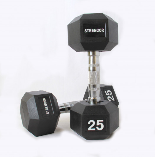 Strencor Rubber Coated Hex Dumbbells 5-50 lb set