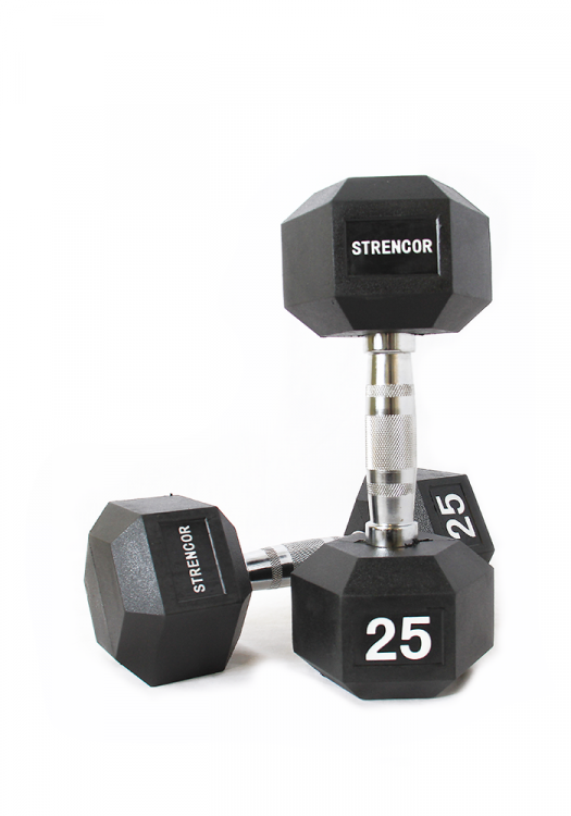 Strencor Rubber Coated Hex Dumbbells - 5-100lbs